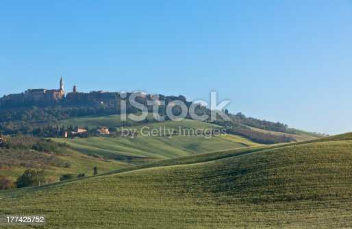 948424058istockphoto Morning fog view on Pienza town 177425752