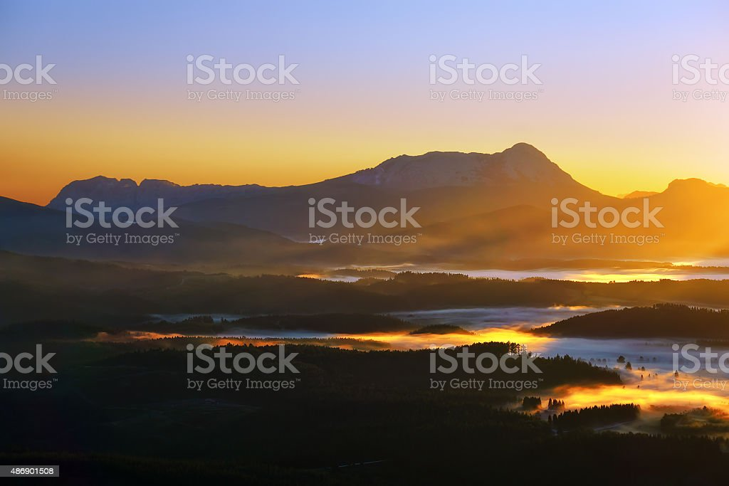 morning fogs over Urkiola at sunrise stock photo