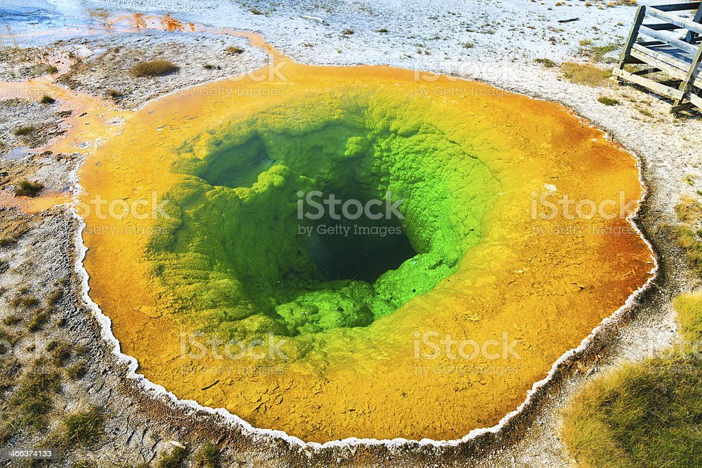 Morning Glory Pool in YellowStone National Park stock photo