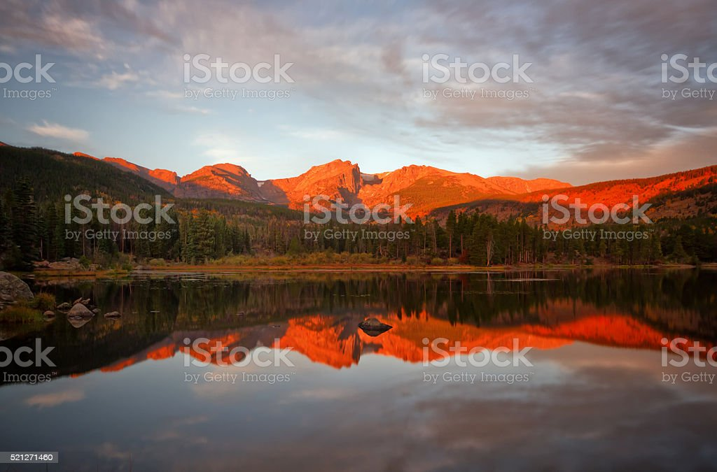 Morning Glow on Sprague Lake stock photo