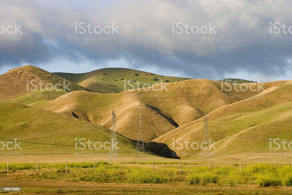 Morning Hills & Power Towers royalty-free stock photo
