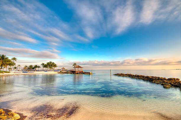 morning in a bahamas beach - nassau new providence stockfoto's en -beelden