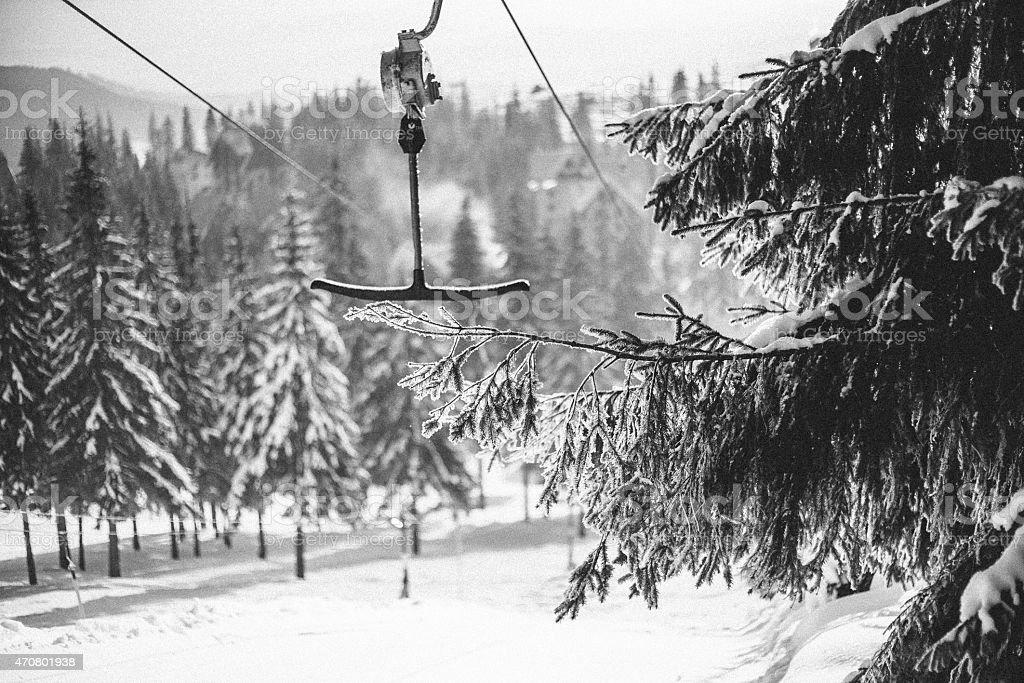 Morning in Carpathian mountains. Dragobrat bugel stock photo