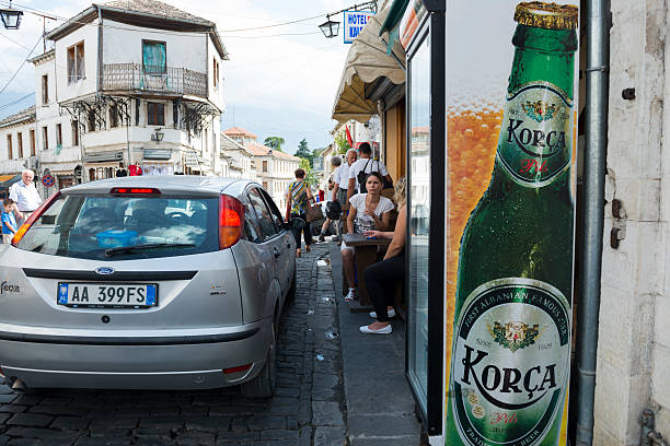 morning in gjirokastër, albania - ford focus stock photos and pictures