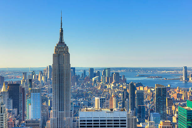 Morning in Mahattan, NYC Aerial view of  New York City and Empire State Building. empire state building stock pictures, royalty-free photos & images