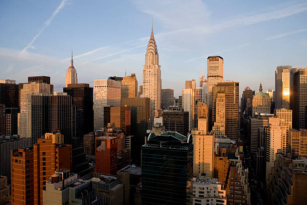 morning in manhattan, new york city - chrysler building stock photos and pictures