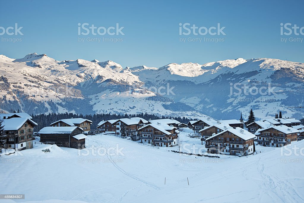 Morning in Obersaxen stock photo