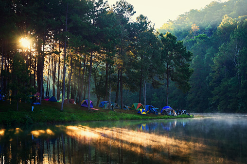 Morning in Pang Ung Lake,North of Thailand, is a tourist place where people come to vacation in the winte . Concept Travel