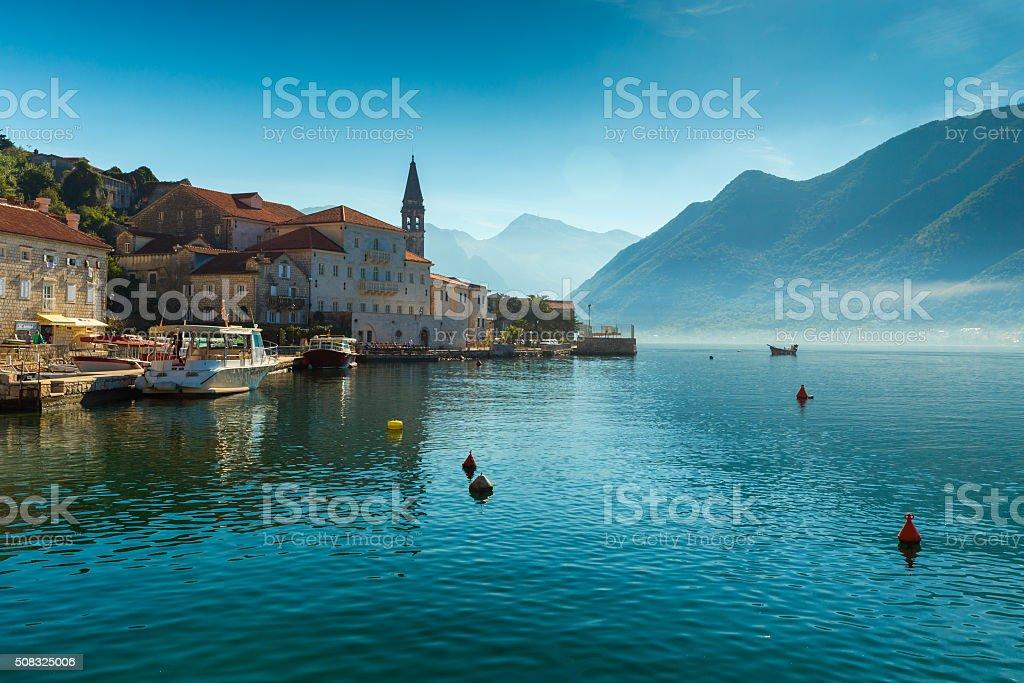Morning in Perast. Montenegro. stock photo
