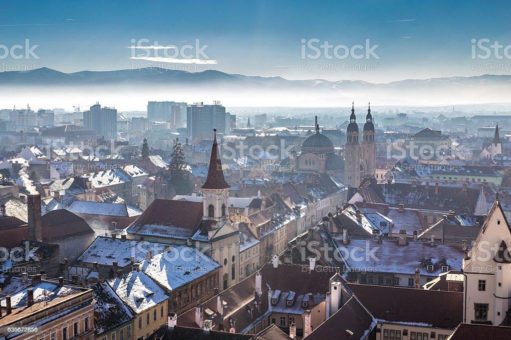 Morning in Sibiu,  Romania in the heart of Transylvania. stock photo