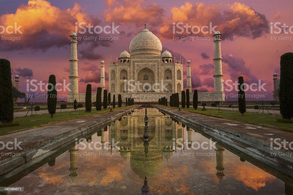Morning in Taj Mahal stock photo