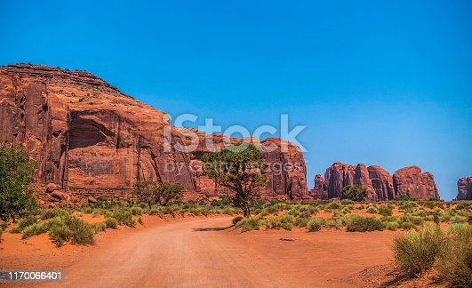 Morning panorama of the Monument Valley. Colorful cliffs monuments and tourist tents at sunrise. Summer tour of southwest USA