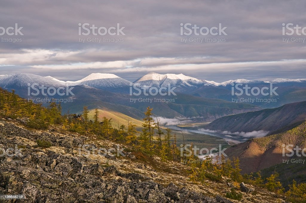 Morning in the mountains. stock photo