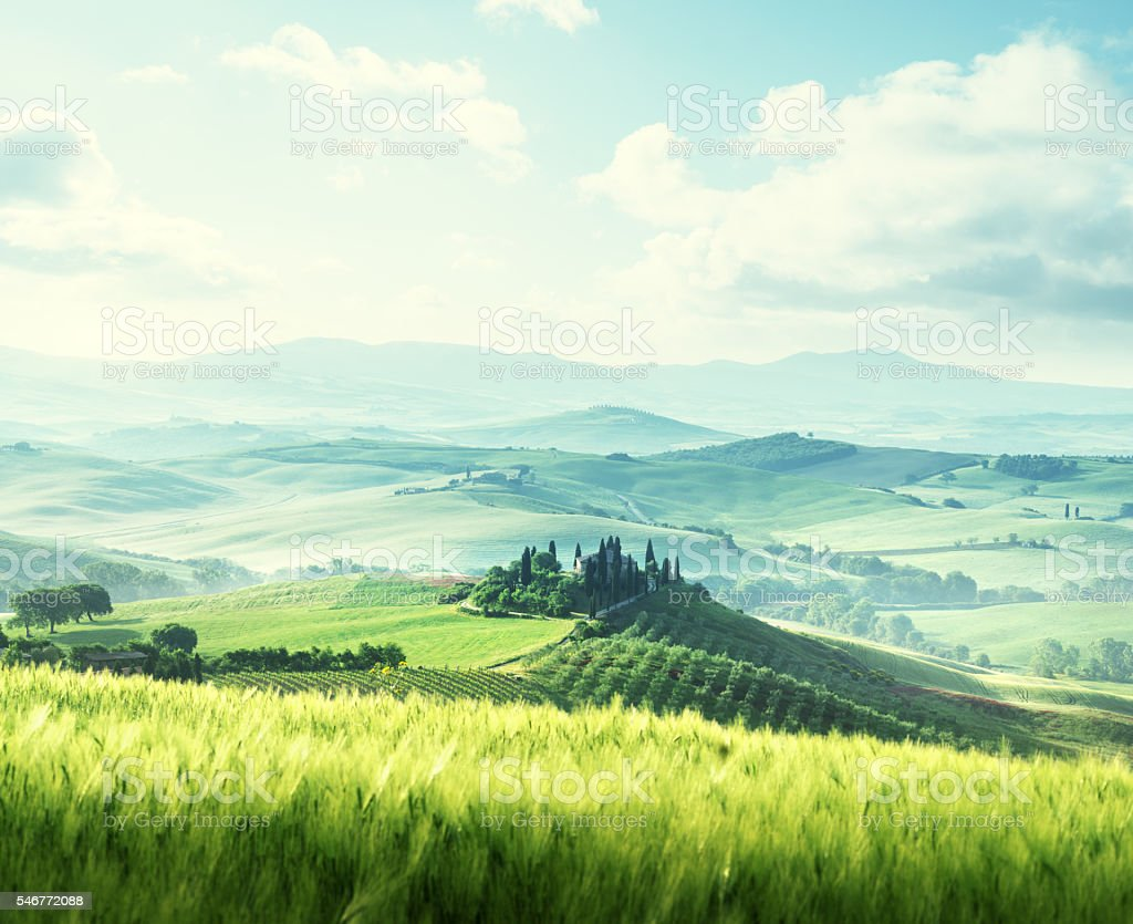 morning in Tuscany, Italy stock photo