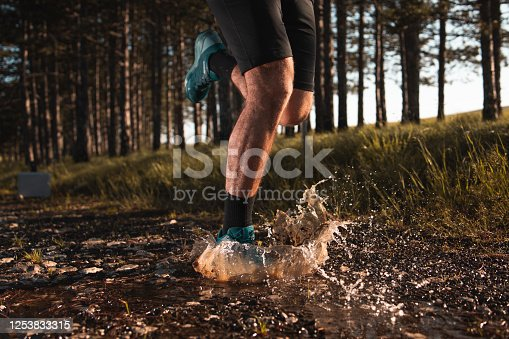 986840244 istock photo Morning jogging in a forest 1253833315