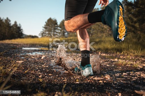 986840244 istock photo Morning jogging in a forest 1254546830