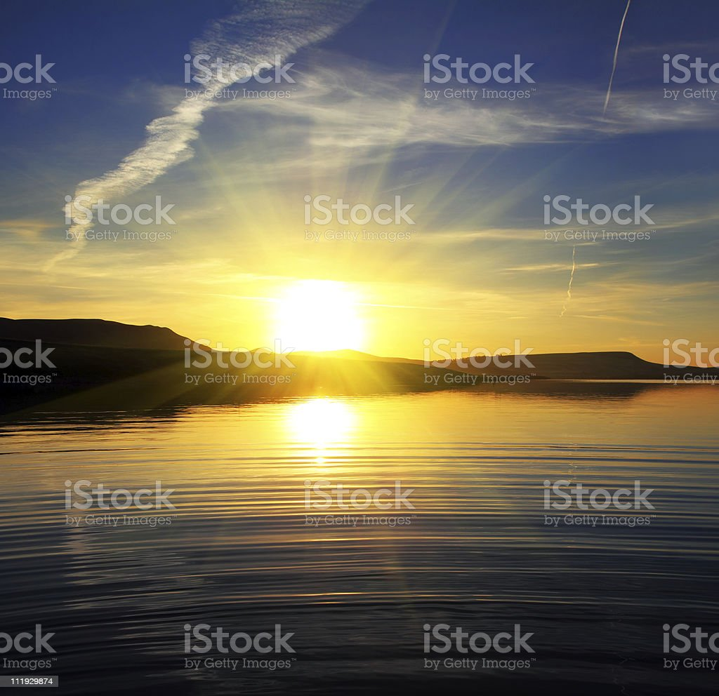 morning lake landscape with sunrise royalty-free stock photo