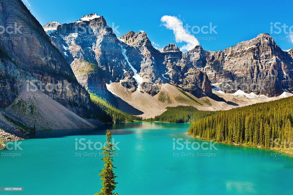 Morning Lake Moraine in Banff National Park stock photo