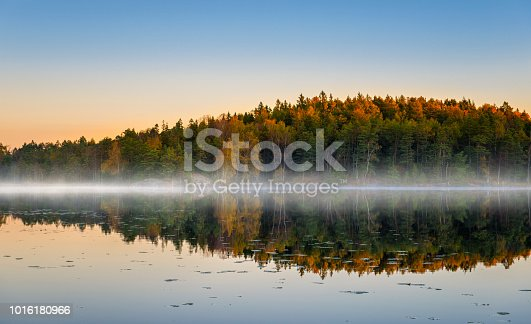 Beautiful and quiet morning at the autumn lake in Sweden.