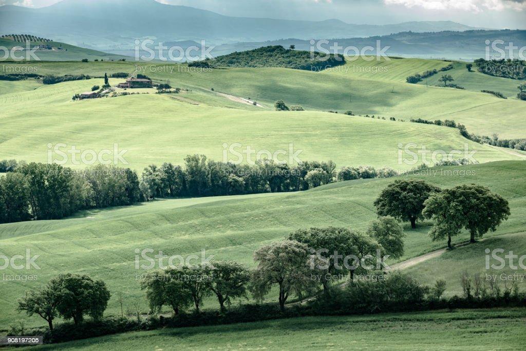 Morning landscape of Tuscany stock photo