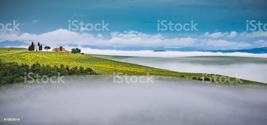 Morning landscape of Tuscany with small chapel stock photo