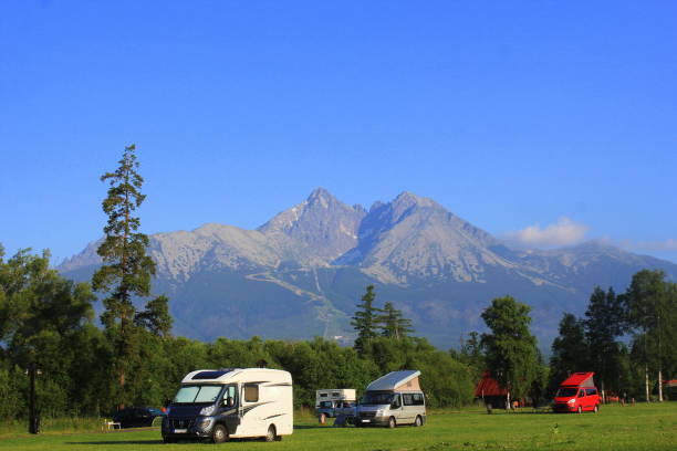 Morning landscape with a camping in mountains of High Tatras, Slovakia stock photo