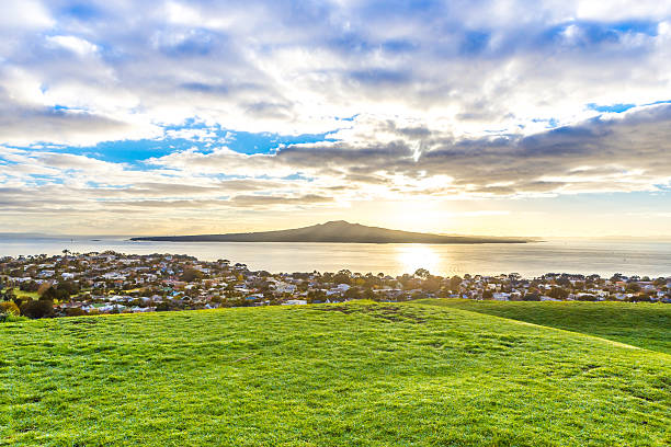 Morning landscape with a volcanic island on a horizon stock photo