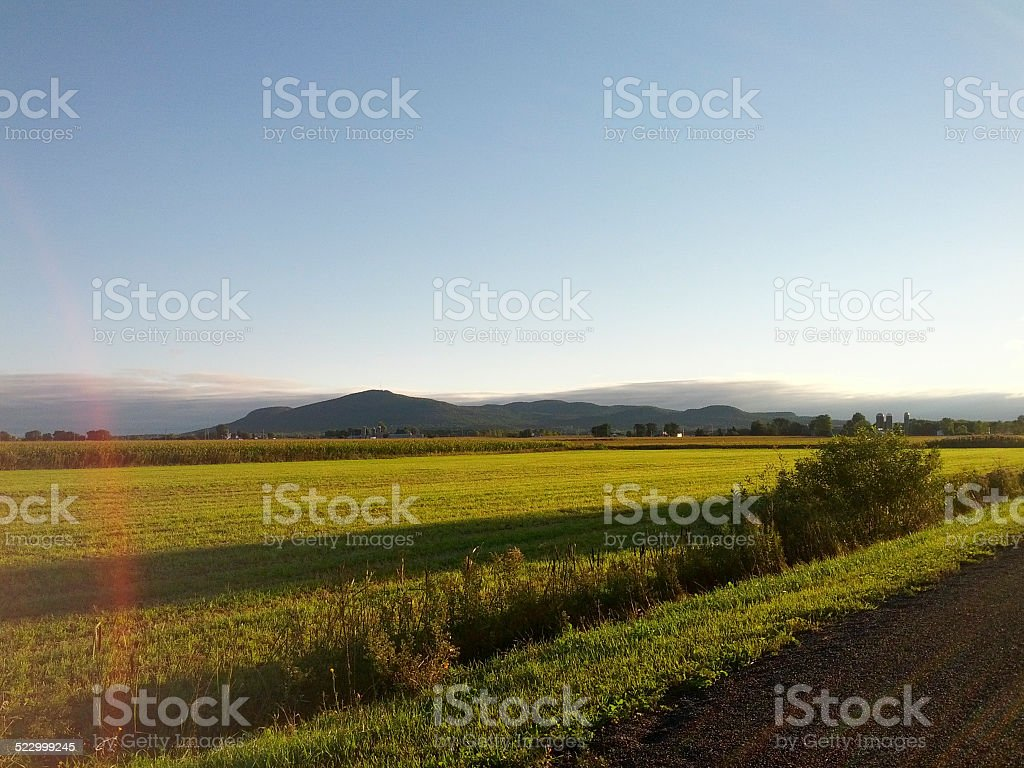Morning Landscape with path and mountains stock photo