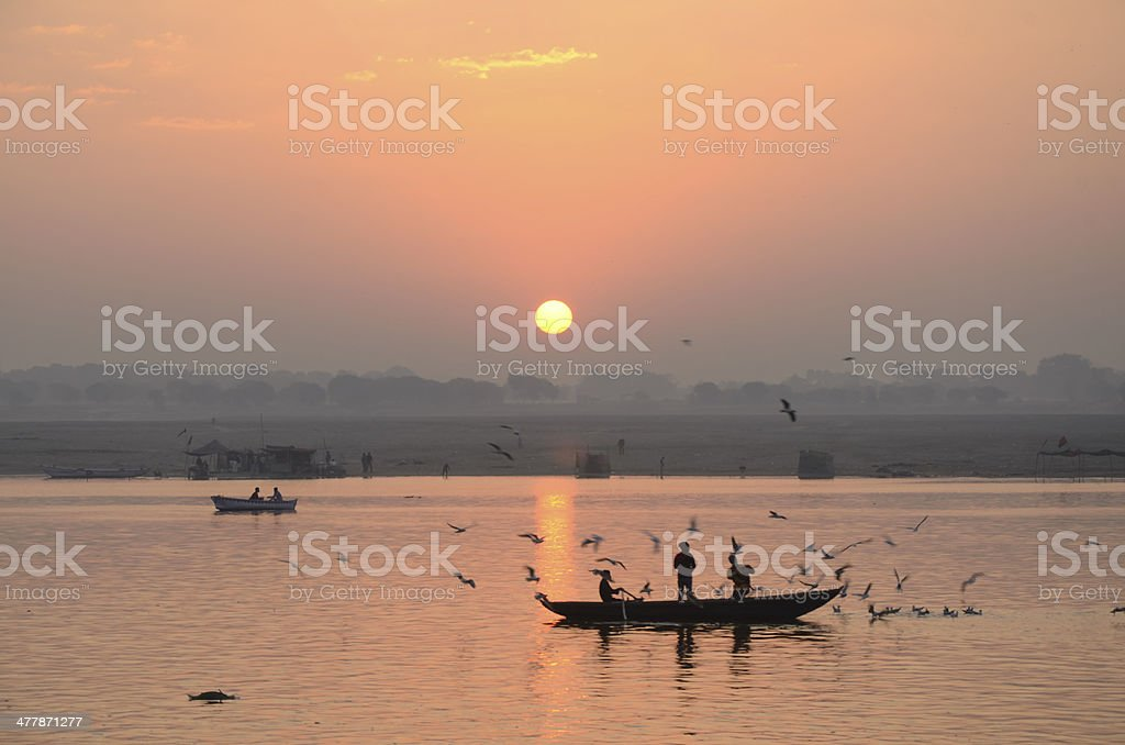 morning life with Ganges river. stock photo