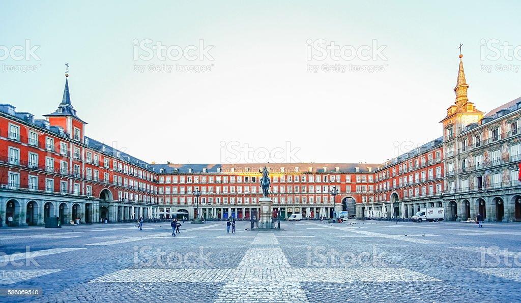 Morning Light at Plaza Mayor in Madrid , Spain stock photo
