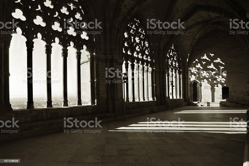 Morning light in cloister La Seu Vella, Lleida, Spain royalty-free stock photo