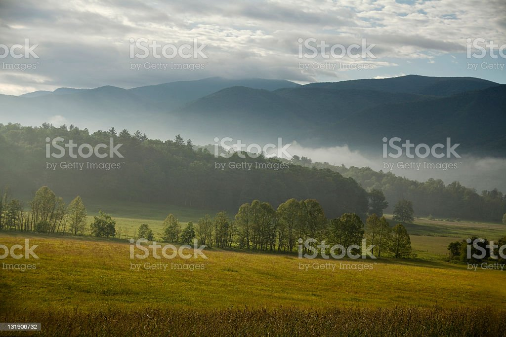 Morning light in the mountains stock photo