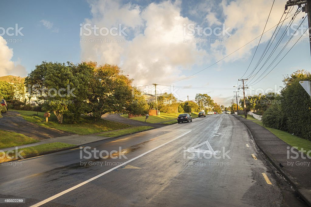 Morning light in the suburbs stock photo