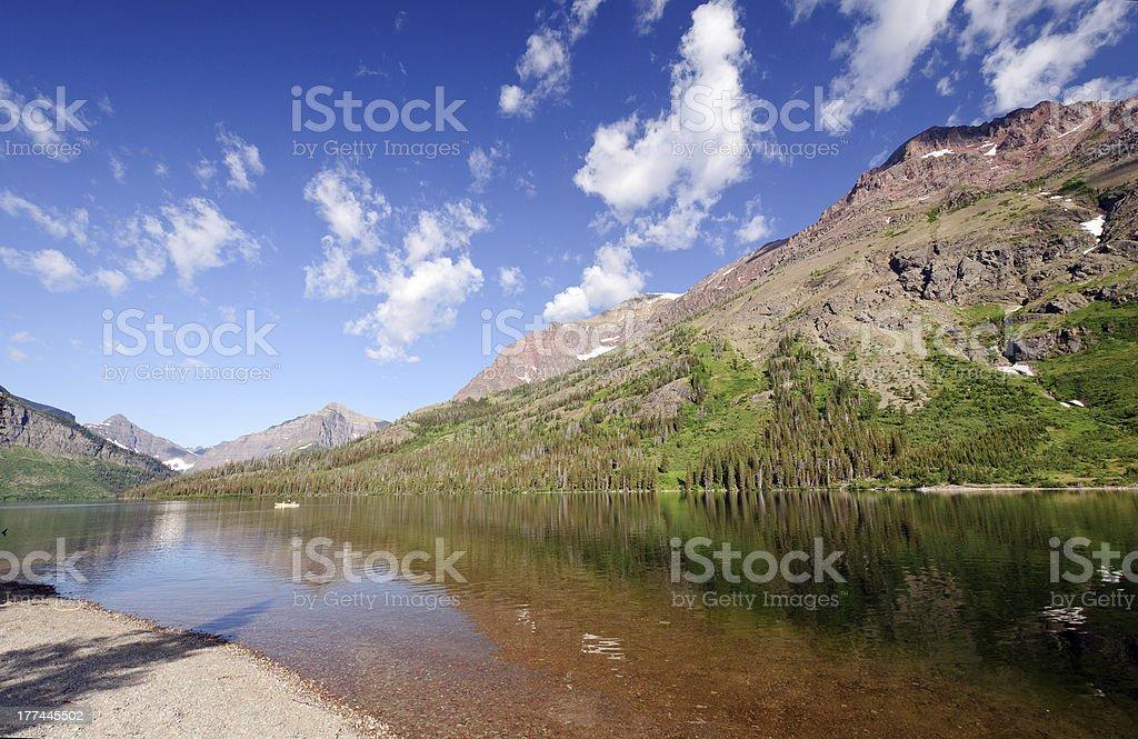 Morning light on an alpine lake royalty-free stock photo