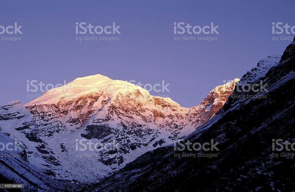 Morning Light On Chomolhari Mountain, Bhutan royalty-free stock photo