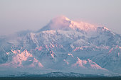 Winter morning sunrise looking over Mt Denali in Denali National Park