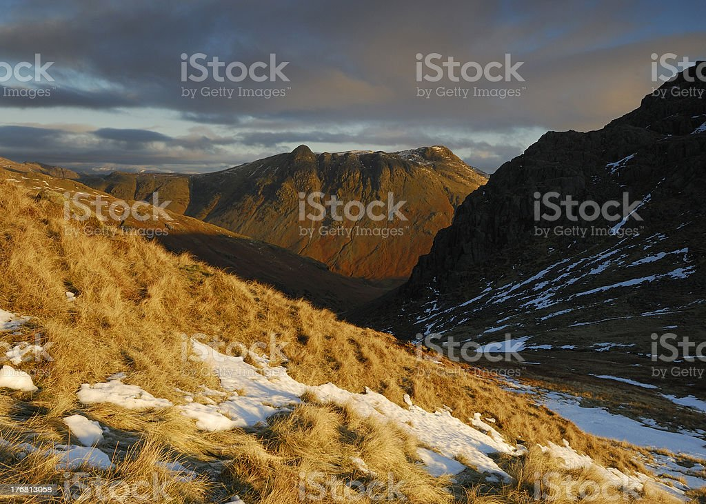 Morning light on the Langdale Pikes, English Lake District royalty-free stock photo