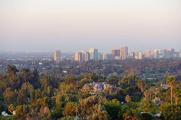 morning light on the west side Looking towards the west side at Wilshire and Westwood districts from Beverly Hills. westwood neighborhood los angeles stock pictures, royalty-free photos & images