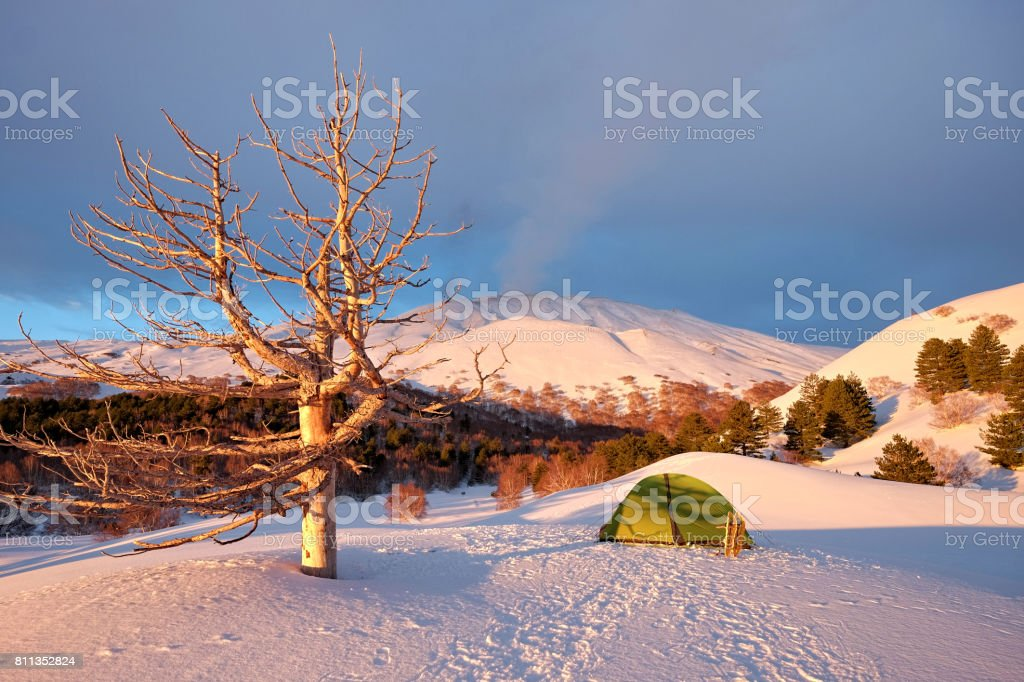 Morning Light On Winter Etna Park, Sicily stock photo