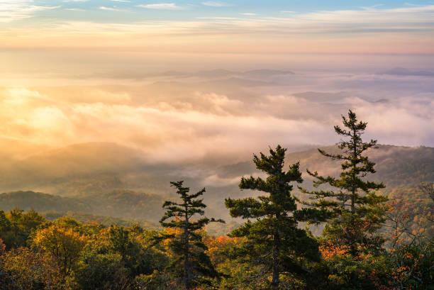 Morning light over fog covered valley. stock photo