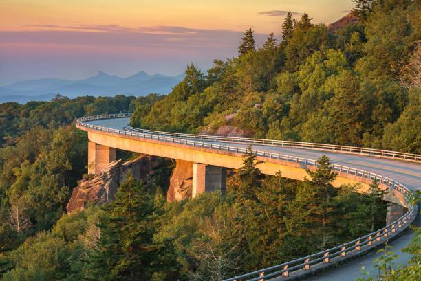 Morning light over viaduct, Blue Ridge Parkway stock photo