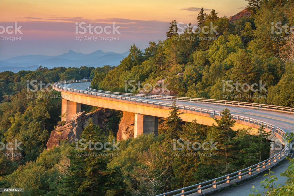 Morning light over viaduct, Blue Ridge Parkway stock photo