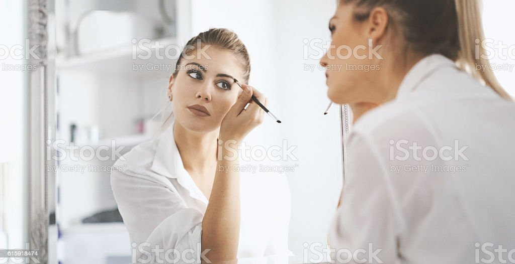 Morning makeup. stock photo