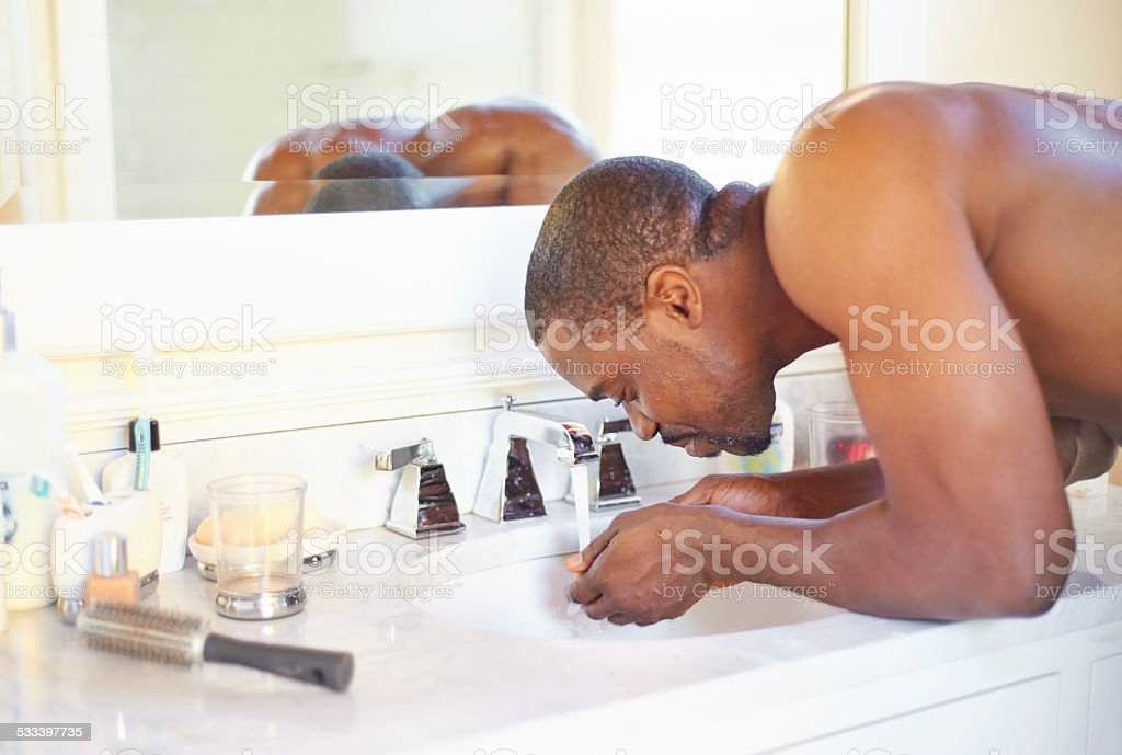 Morning manly rituals stock photo