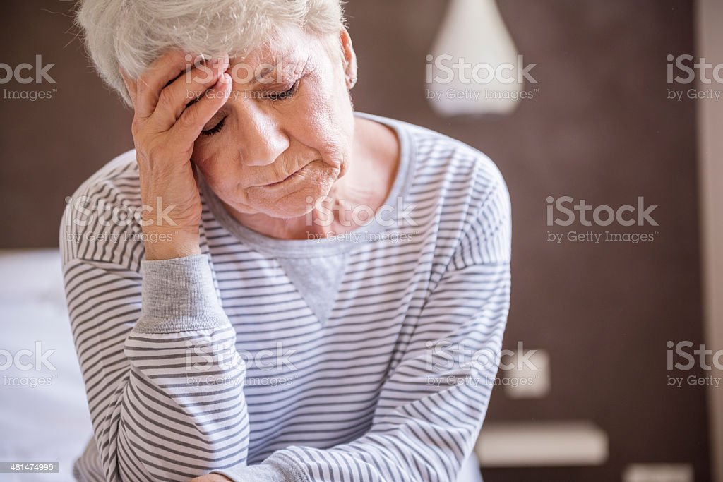 Morning migraine is my biggest problem stock photo