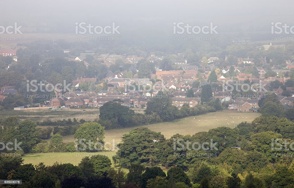 Morning mists over a small English town royalty-free stock photo