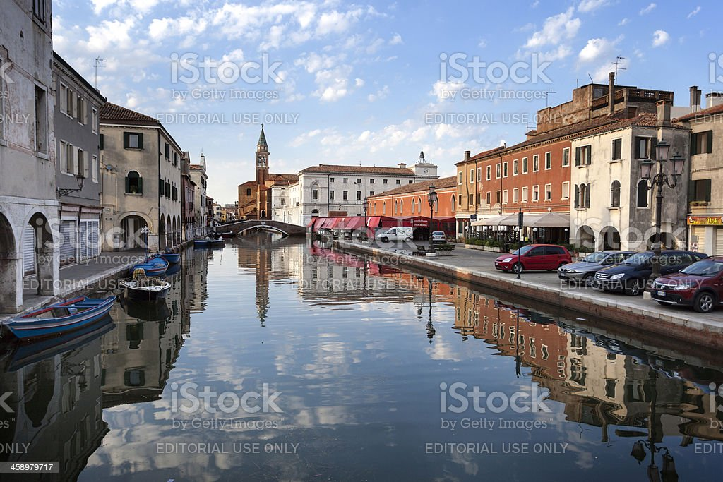 Morning mood at the canal Riva Vena in Chioggia, Italy royalty-free stock photo
