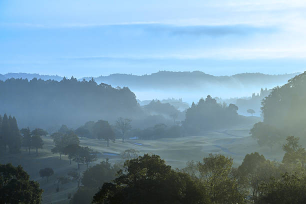 Morning mortar golf course stock photo