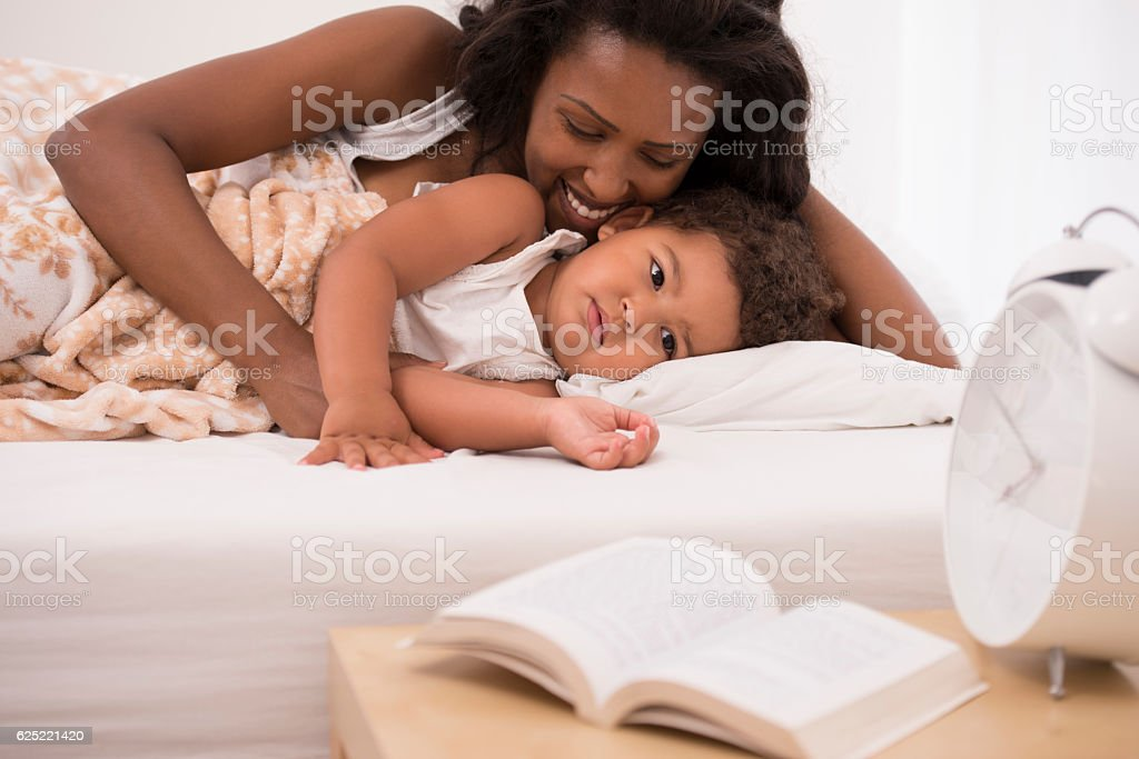 Morning mother and doughtier. stock photo