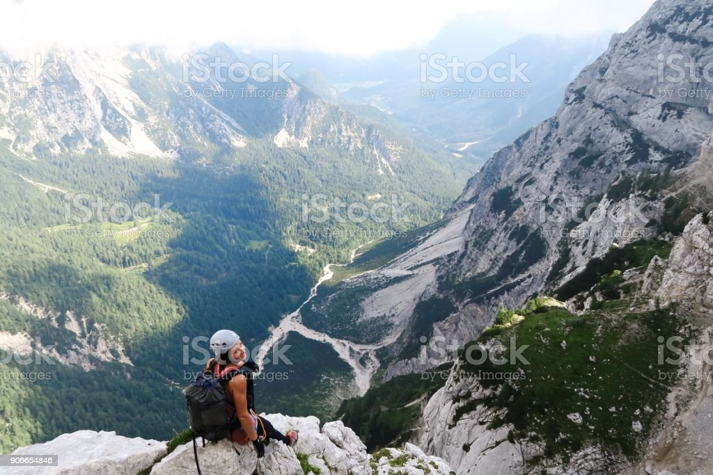 Morning mountain climbing via ferrata stock photo